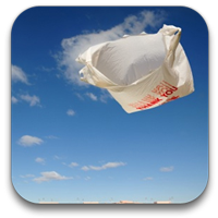 plastic bag floating in air