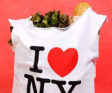 Shopping bag made from a I HEART NEW YORK tee shirt