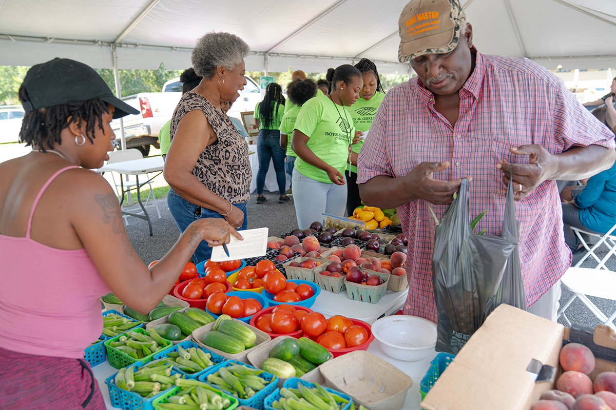 Vendors have lots of produce available.