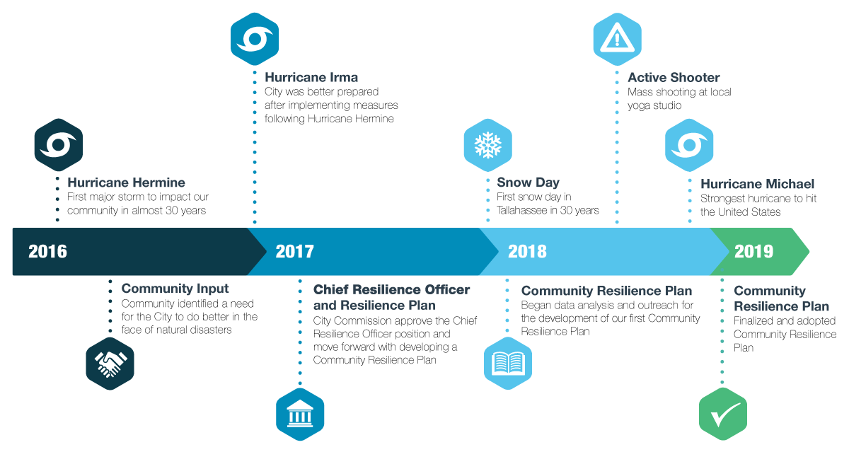 Infographic showing timeline of the plan development
